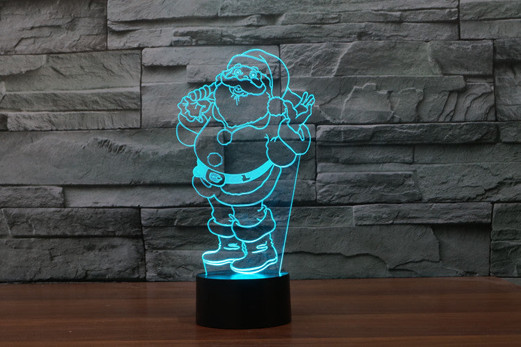 Santa Claus 3D Optical Illusion LED Lamp
