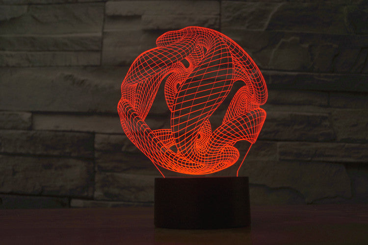 Abstract Ball Sculpture 3D Optical Illusion LED Lamp