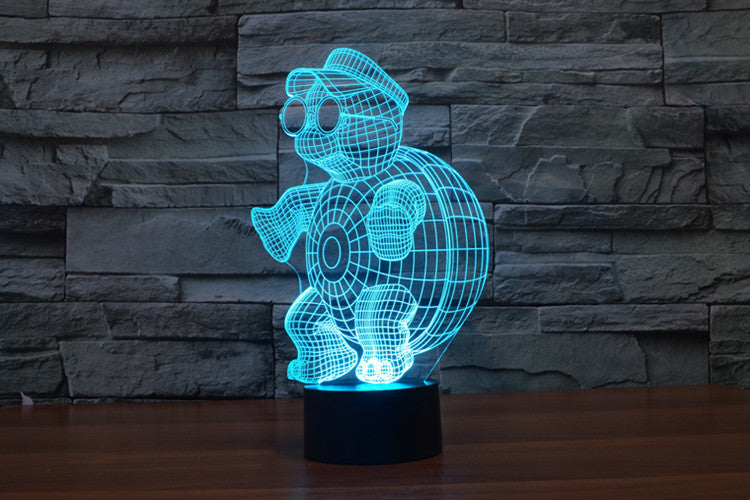 Cute Turtle 3D Optical Illusion LED Lamp