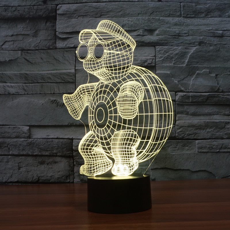 chilldecor.com Cute Turtle 3D Optical Illusion LED Lamp