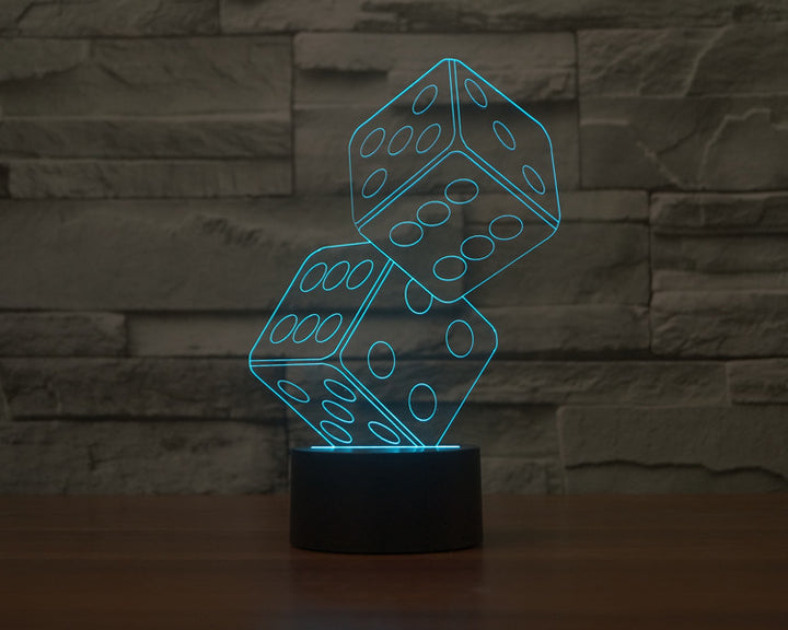 Two Dices 3D Optical Illusion LED Lamp