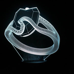 chilldecor.com Diamond Ring 3D Optical Illusion LED Lamp