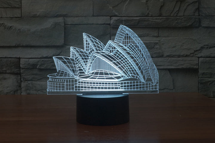 chilldecor.com Australian Landmarks Sydney Opera House 3D Optical Illusion LED Lamp