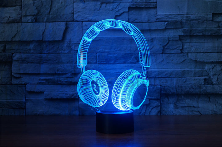Realistic Headphones 3D Optical Illusion LED Lamp