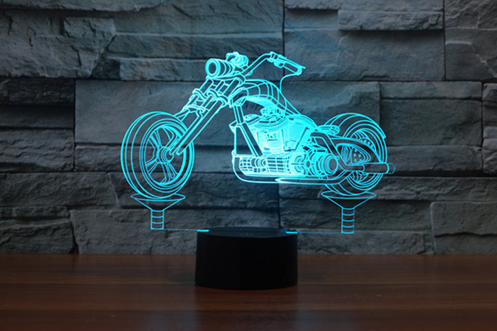 chilldecor.com Harley Davidson Motorcycle Shape 3D Optical Illusion LED Lamp