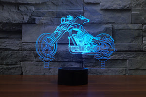 Harley Davidson Motorcycle Shape 3D Optical Illusion LED Lamp