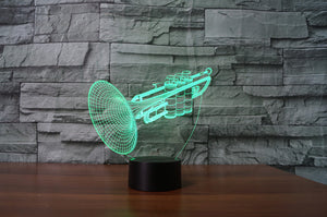 Trumpet 3D Optical Illusion LED Lamp