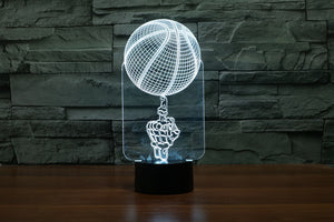 A Skeleton Spinning The Basketball 3D Optical Illusion LED Lamp