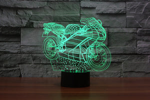 New Motorcycle 3D Optical Illusion LED Lamp