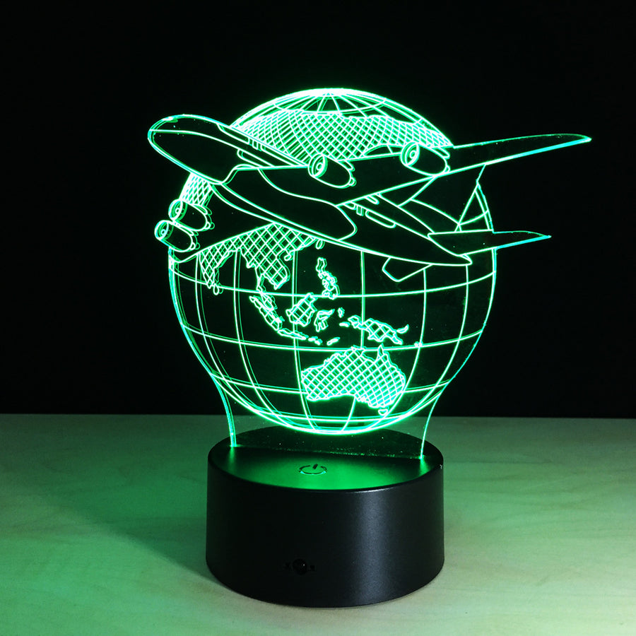 Globle Concept Aircraft on Earth 3D Optical Illusion LED Lamp