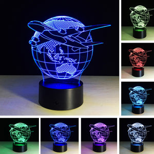 chilldecor.com Globle Concept Aircraft on Earth 3D Optical Illusion LED Lamp