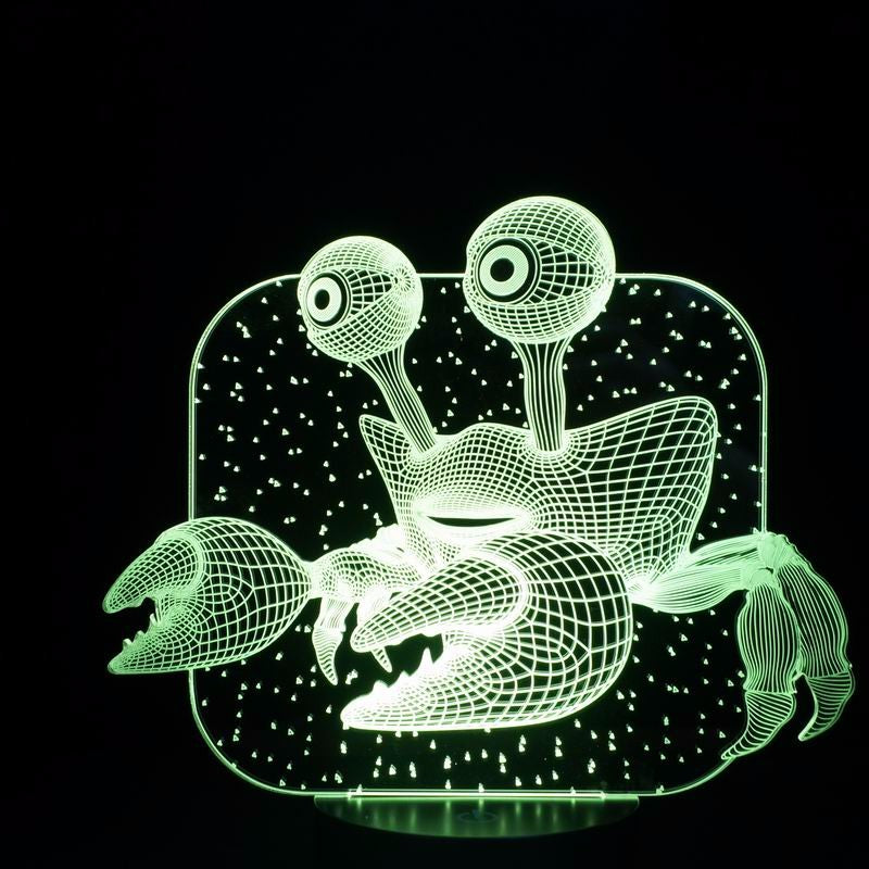 Big Eyes Crab 3D Optical Illusion LED Lamp