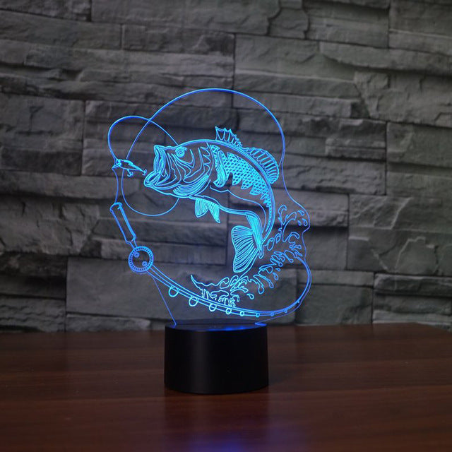 Fishing 3D Optical Illusion LED Lamp chilldecor.com