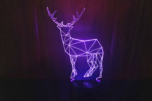 Abstract Deer 3D Optical Illusion LED Lamp