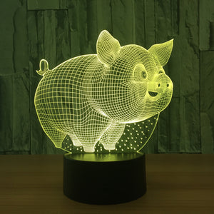 Lovely Pig 3D Optical Illusion LED Lamp