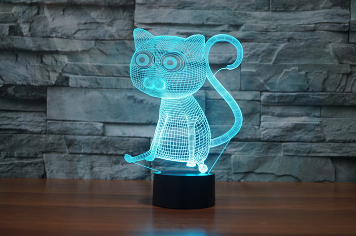 chilldecor.com Cartoon Cat 3D Optical Illusion LED Lamp