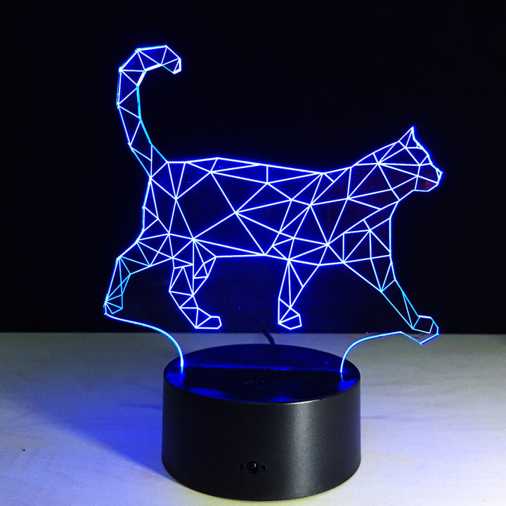 Abstract Cat 3D Optical Illusion LED Lamp