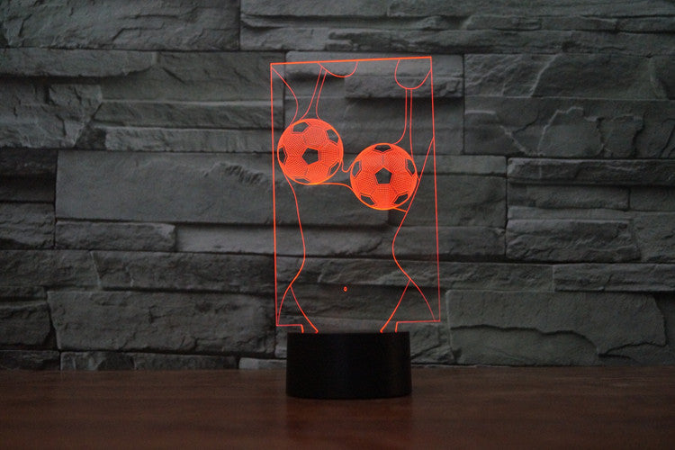 Sexy Soccer Lady 3D Optical Illusion LED Lamp