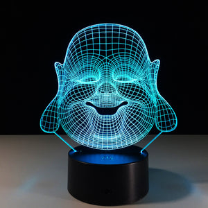 Maitreya Buddha 3D Optical Illusion LED Lamp