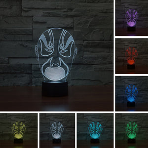 chilldecor.com Chinese Acting Mask 3D Optical Illusion LED Lamp