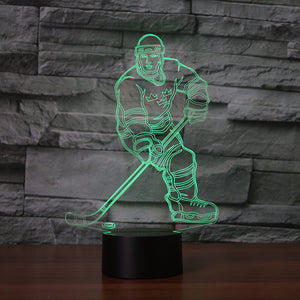 Ice Hockey Athlete 3D Optical Illusion LED Lamp