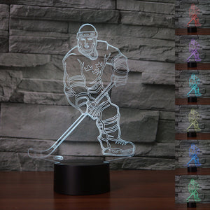 chilldecor.com Ice Hockey Athlete 3D Optical Illusion LED Lamp