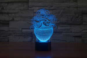 Romantic Rose 3D Optical Illusion LED Lamp
