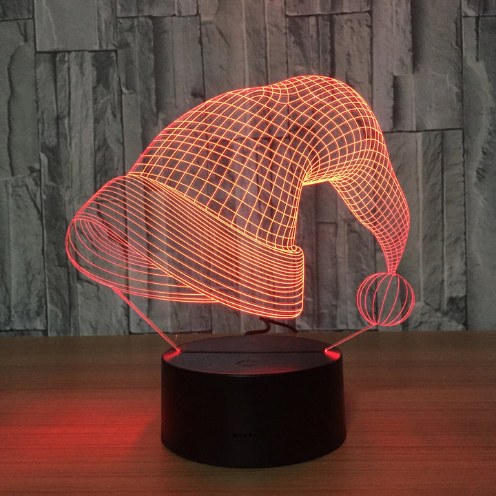 chilldecor.com Christmas Hat 3D Optical Illusion LED Lamp