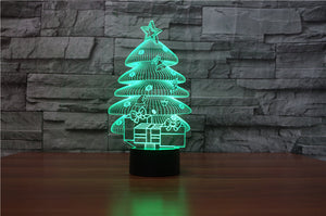 chilldecor.com Christmas Tree and Gifts 3D Optical Illusion LED Lamp