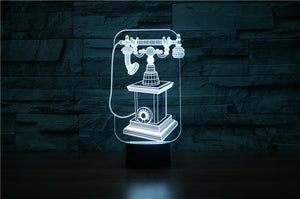 chilldecor.com Vintage Telephone 3D Optical Illusion LED Lamp