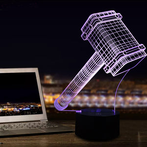 chilldecor.com Thor's Hammer 3D Optical Illusion LED Lamp