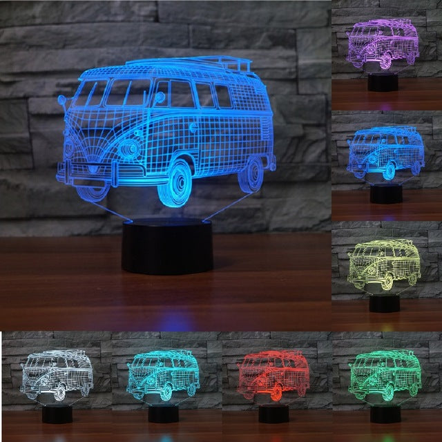 chilldecor.com Vintage Van 3D Optical Illusion LED Lamp