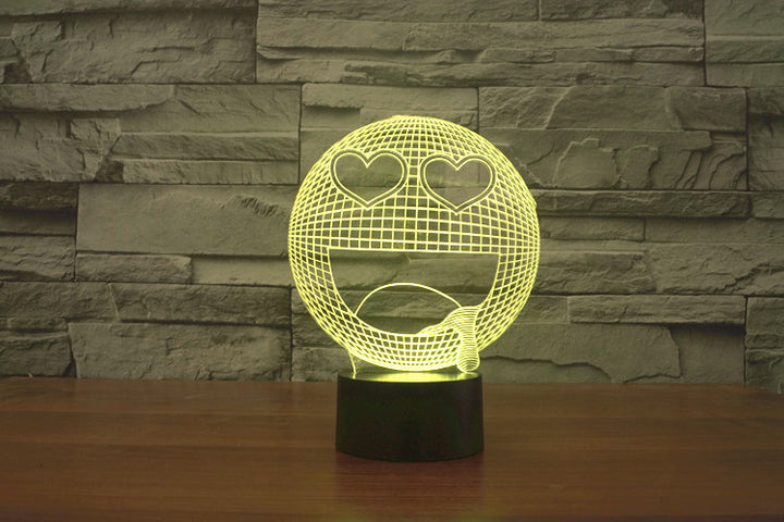 Love Eyes Emoji 3D Optical Illusion LED Lamp