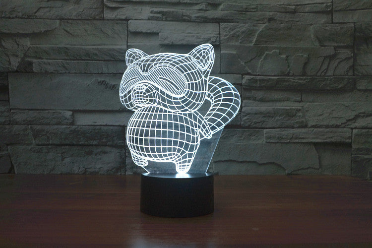 Cartoon Raccoon 3D Optical Illusion LED Lamp