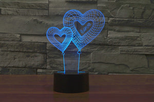 Love Hearts 3D Optical Illusion LED Lamp