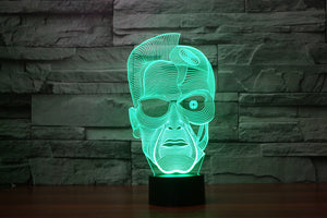 The Terminator Inspired 3D Optical Illusion LED Lamp