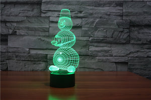chilldecor.com Snowman Holding Gift 3D Optical Illusion LED Lamp