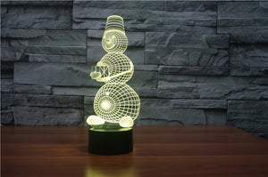 Snowman Holding Gift 3D Optical Illusion LED Lamp