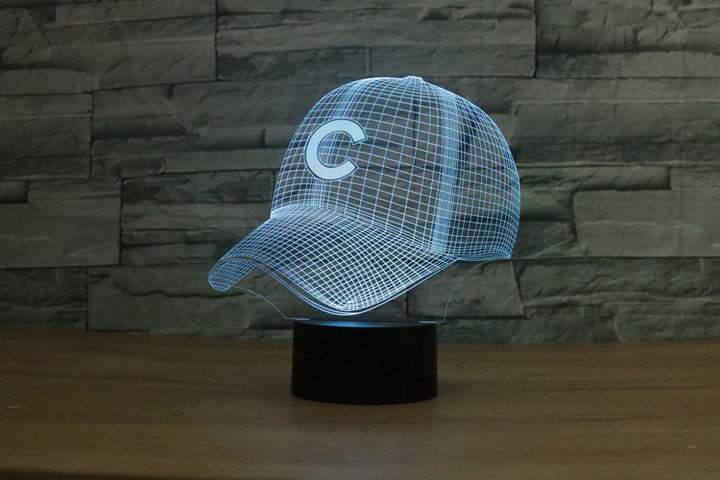 chilldecor.com Chicago Cubs MLB Baseball Cap 3D Optical Illusion LED Lamp