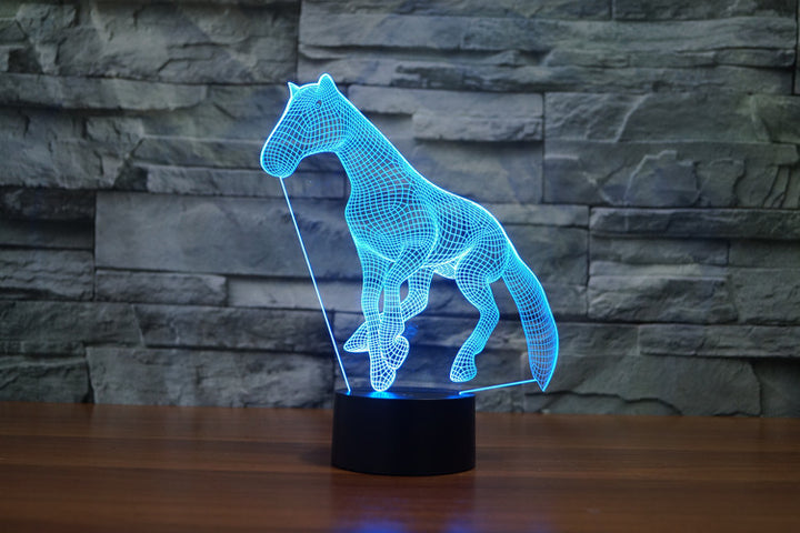7 Colours Horse 3D Optical Illusion LED Lamp