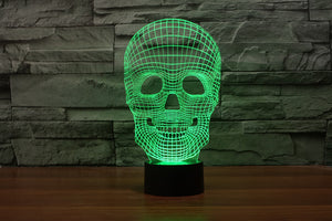 7 Colours Skull 3D Optical Illusion LED Lamp