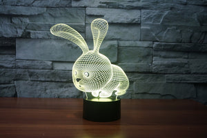 Cartoon Rabbit 3D Optical Illusion LED Lamp
