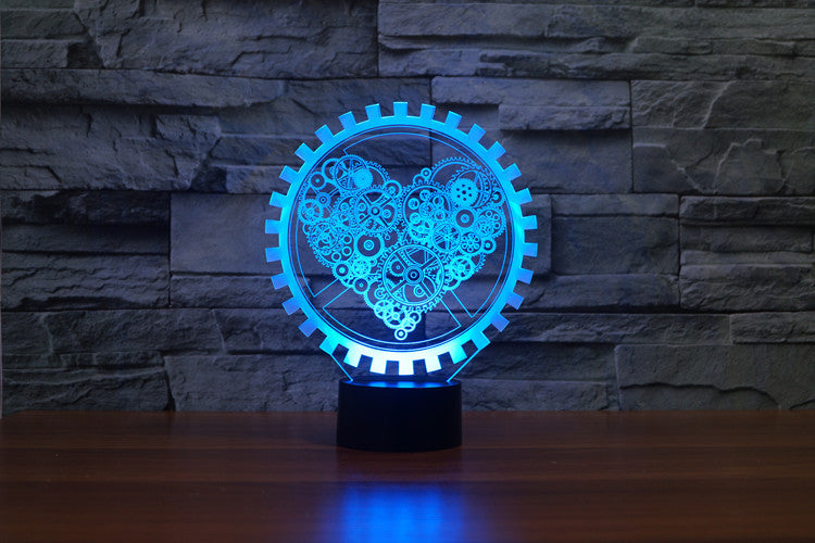 Electronic Love Heart Shape 3D Optical Illusion LED Lamp