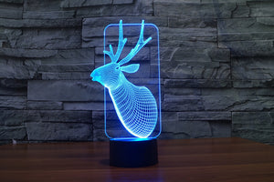 Decoration Deer Head 3D Optical Illusion LED Lamp