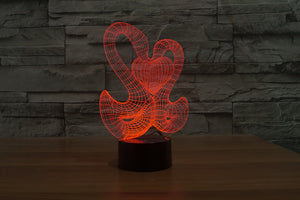 Swans Love 3D Optical Illusion LED Lamp