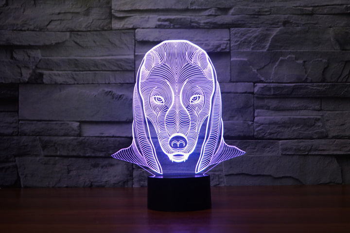 Pharaoh Guard Dog Head 3D Optical Illusion LED Lamp