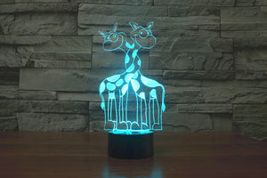 chilldecor.com Cartoon Giraffes Lovely 3D Optical Illusion LED Lamp