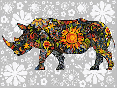 DIY Painting By Numbers Oil Painting Of Rhinoceros Painting& Calligraphy Home Decor