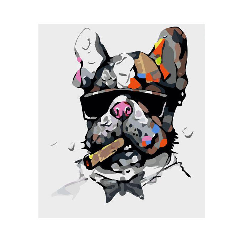 Smoking Cigar Dog DIY Acrylic Paint By Numbers Kit 40x50cm