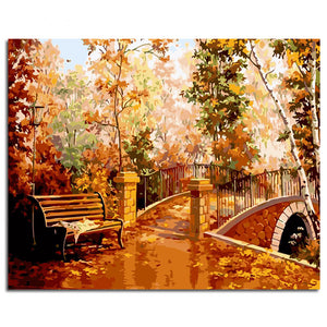 Autumn Bridge Garden View Frameless DIY Acrylic Paint By Numbers Kit 40x50cm